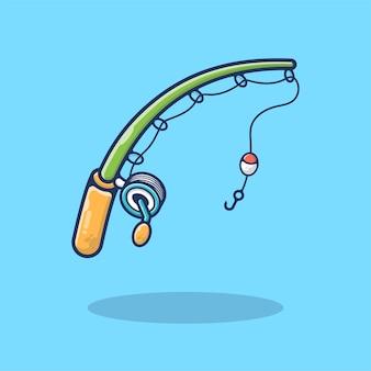 Illustration de canne à pêche et crochet. pêcheur, passe-temps, faune, pêcheur. style de bande dessinée plat