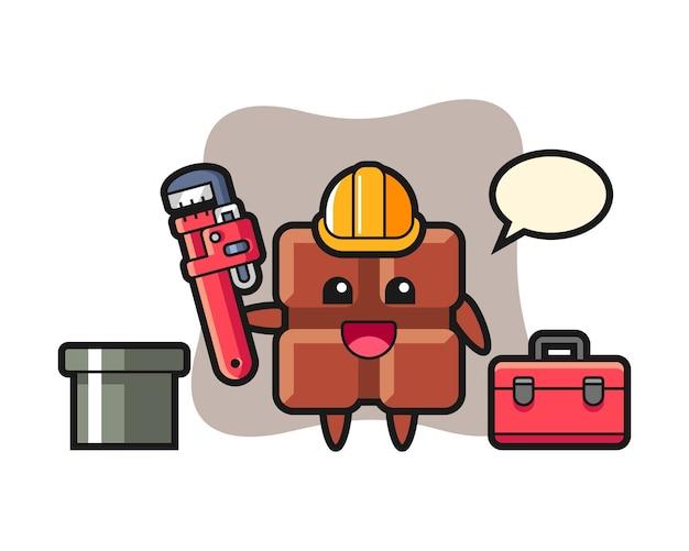 Illustration de caractère de barre de chocolat en tant que plombier, style kawaii mignon.