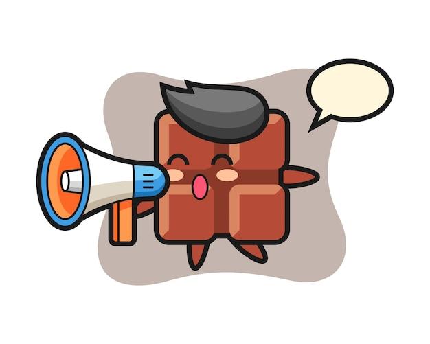 Illustration de caractère de barre de chocolat tenant un mégaphone, style kawaii mignon.