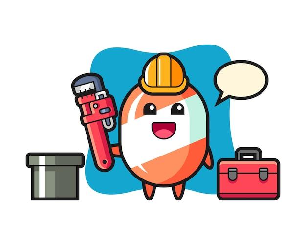 Illustration de caractère de bonbons en tant que plombier