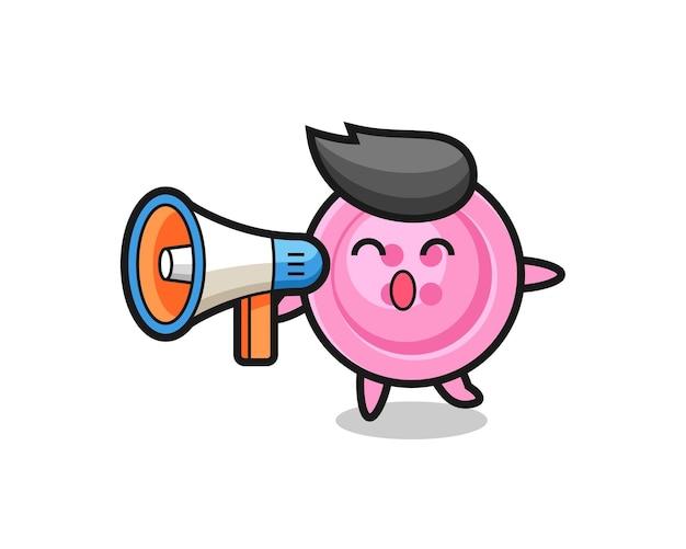 Illustration de caractère de bouton de vêtements tenant un mégaphone, design mignon