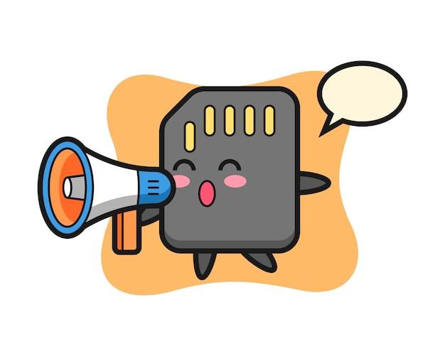 Illustration de caractère de carte sd tenant un mégaphone, conception de style mignon pour t-shirt