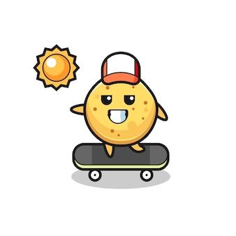 L'illustration de caractère de chips de pomme de terre monte une planche à roulettes, conception mignonne