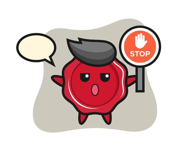 Illustration de caractère de cire à cacheter tenant un panneau d'arrêt