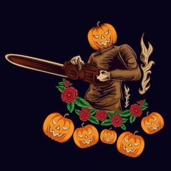 Illustration de caractère citrouille halloween avec tronçonneuse