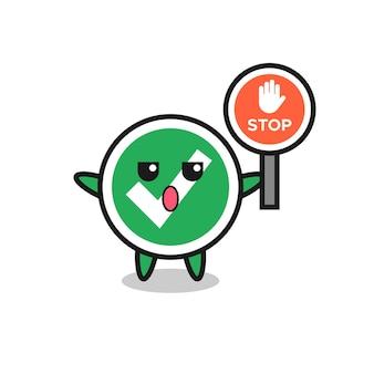 Illustration de caractère de coche tenant un panneau d'arrêt, design mignon