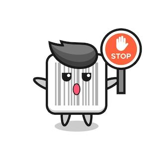 Illustration de caractère de code-barres tenant un panneau d'arrêt, design mignon