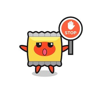 Illustration de caractère de collation tenant un panneau d'arrêt, design de style mignon pour t-shirt, autocollant, élément de logo