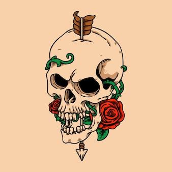 Illustration de caractère crâne et rose