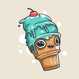 Illustration de caractère crème glacée cône bleu