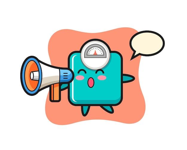 Illustration de caractère d'échelle de poids tenant un mégaphone, conception de style mignon pour t-shirt, autocollant, élément de logo