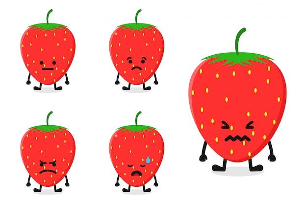 Illustration de caractère de fraise aux fruits définie pour une expression triste