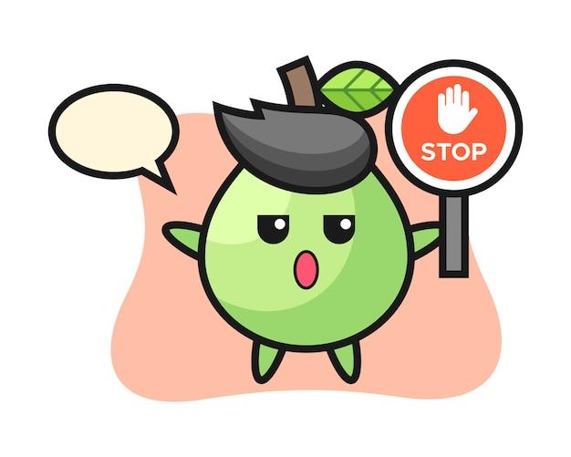 Illustration de caractère de goyave tenant un panneau d'arrêt, style mignon pour t-shirt, autocollant, élément de logo