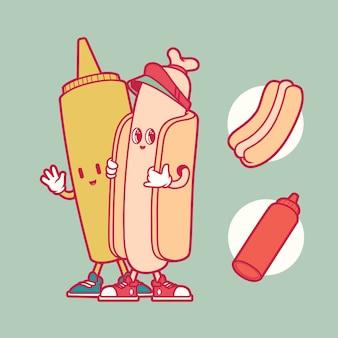 Illustration de caractère hot-dog et moustarde. restauration rapide, malsain, concept de design de livraison
