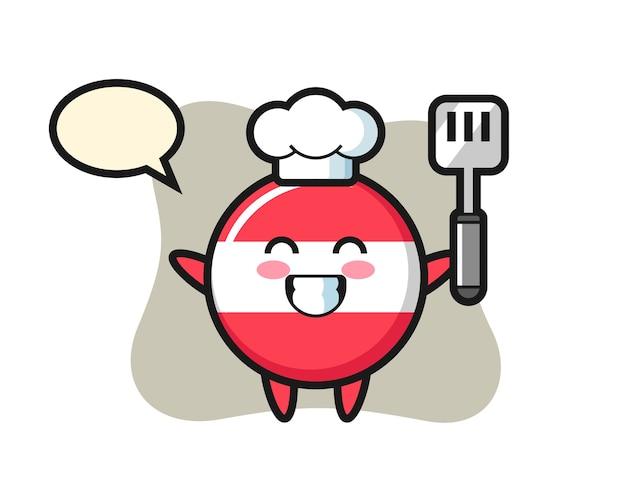 Illustration de caractère d'insigne de drapeau de l'autriche en tant que chef cuisine