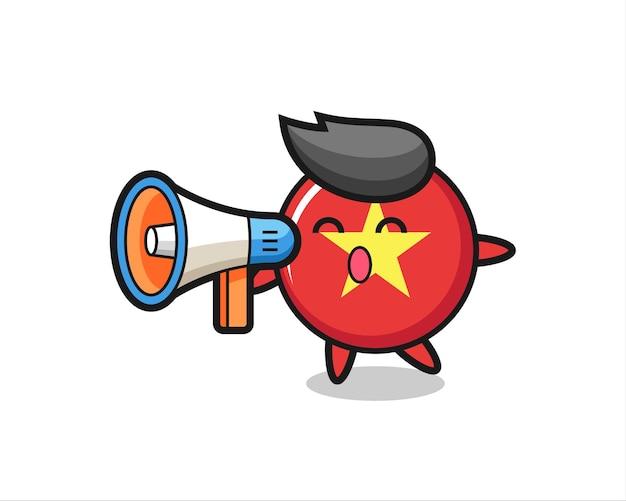 Illustration de caractère d'insigne de drapeau du vietnam tenant un mégaphone, conception de style mignon pour t-shirt, autocollant, élément de logo