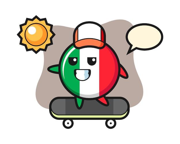 Illustration de caractère d'insigne de drapeau d'italie monter une planche à roulettes, style mignon, autocollant, élément de logo