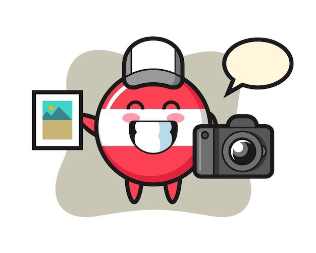 Illustration de caractère de l'insigne du drapeau de l'autriche en tant que photographe