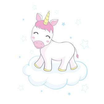 Illustration de caractère licorne mignon conception pour enfant
