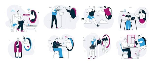 Illustration de caractère linéaire vectorielle de services en ligne dans un ensemble de scènes de métaphore de téléportation futuriste