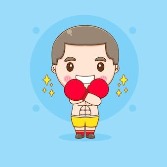 Illustration de caractère mignon boxeur chibi