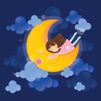 Illustration de caractère mignon. fille avec lune sur ciel sombre