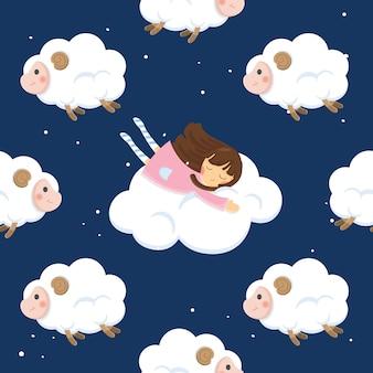 Illustration de caractère mignon. fille avec des moutons sur ciel sombre