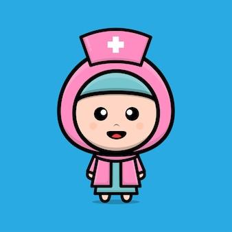 Illustration de caractère mignon infirmière musulmane
