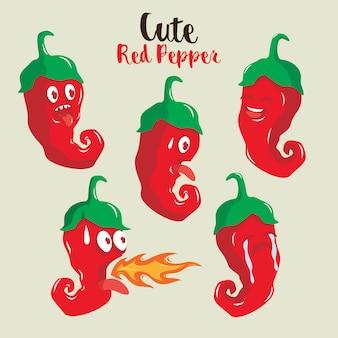Illustration de caractère mignon poivron rouge