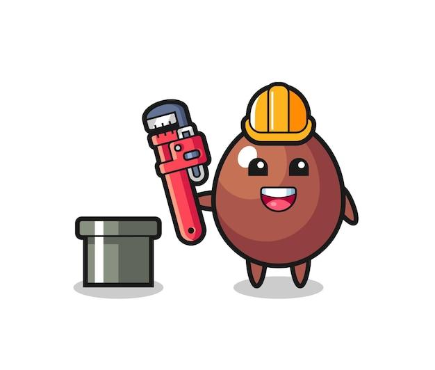 Illustration de caractère d'oeuf en chocolat en tant que plombier, design mignon