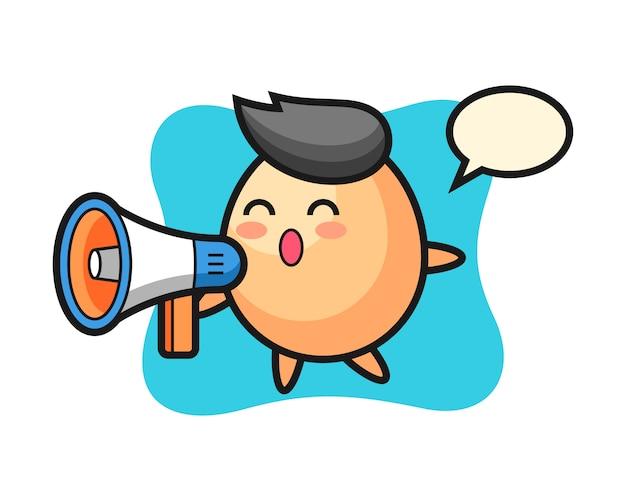 Illustration de caractère d'oeuf tenant un mégaphone, style mignon pour t-shirt, autocollant, élément de logo