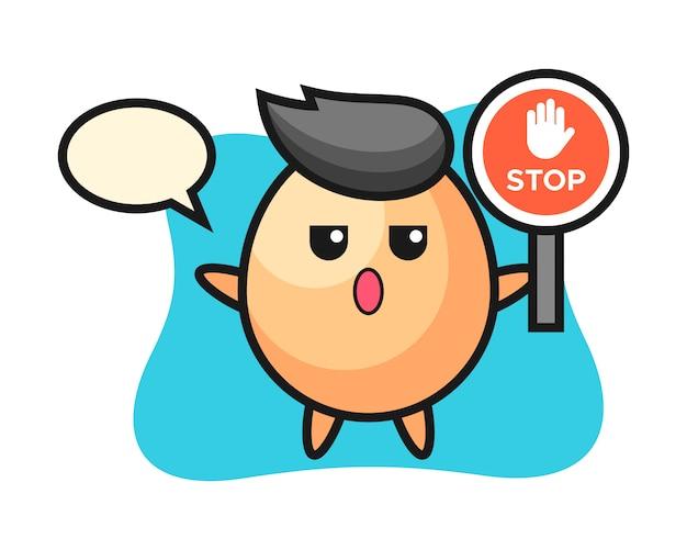 Illustration de caractère d'oeuf tenant un panneau d'arrêt, style mignon pour t-shirt, autocollant, élément de logo