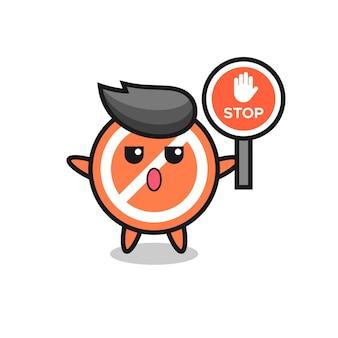 Illustration de caractère de panneau d'arrêt tenant un panneau d'arrêt, conception de style mignon pour t-shirt, autocollant, élément de logo