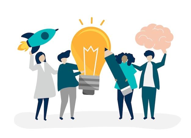 Illustration de caractère de personnes avec des icônes d'idées créatives