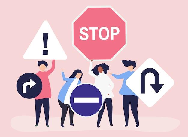 Illustration de caractère de personnes avec des icônes de panneau de signalisation