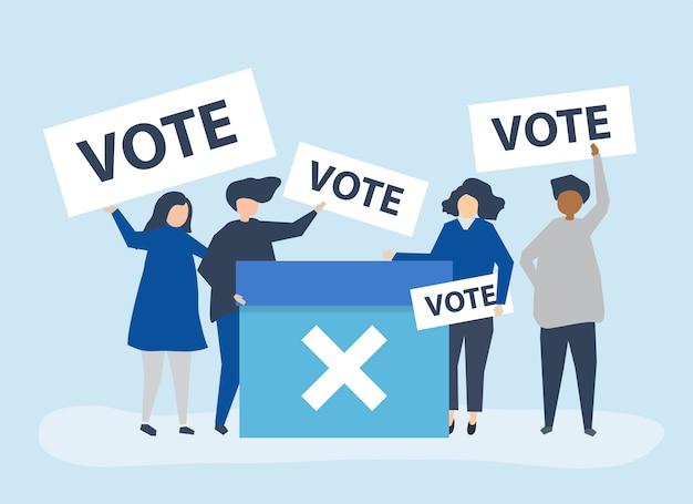 Illustration de caractère de personnes avec des icônes de vote
