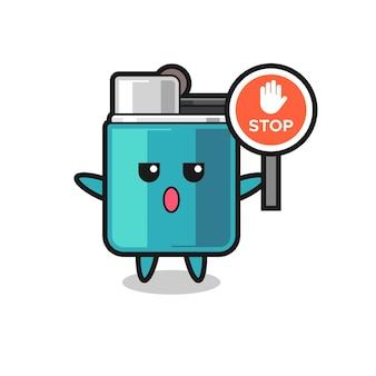 Illustration de caractère plus léger tenant un panneau d'arrêt, design mignon