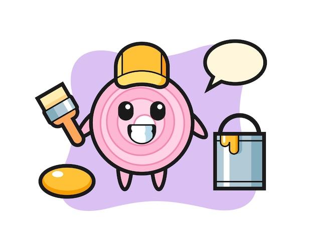 Illustration de caractère de rondelles d'oignon en tant que peintre, design de style mignon pour t-shirt, autocollant, élément de logo