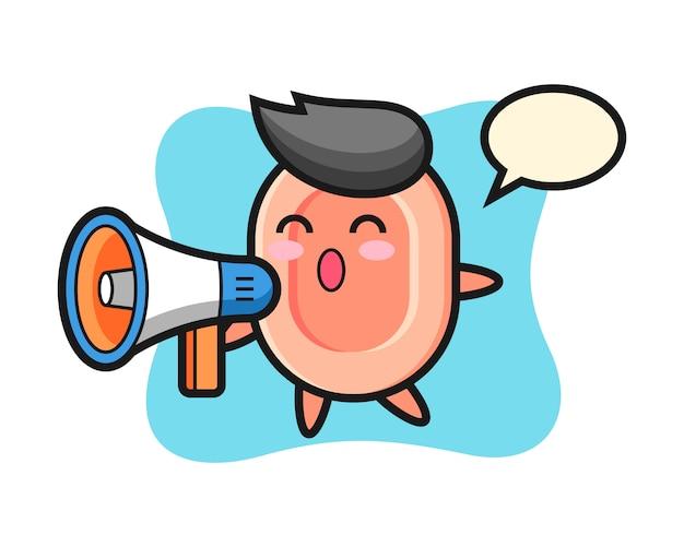 Illustration de caractère de savon tenant un mégaphone, style mignon pour t-shirt, autocollant, élément de logo