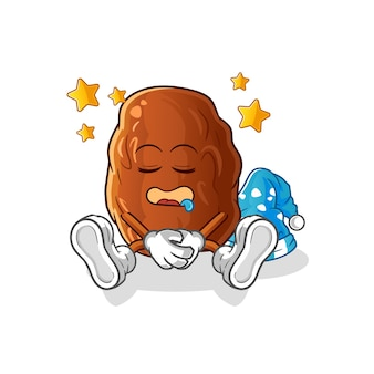 Illustration de caractère de sommeil de fruits de date