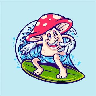 Illustration de caractère surfeur champignon