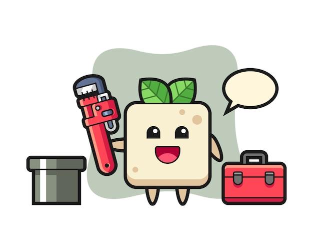 Illustration de caractère de tofu en tant que plombier, conception de style mignon pour t-shirt