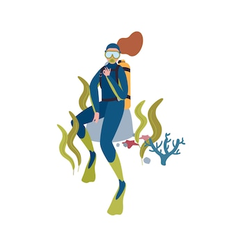 Illustration de caractère vecteur plat plongeur femelle. passe-temps de la plongée sous-marine. femme de bande dessinée explorant le fond de l'océan avec masque et aqualung isolé sur fond blanc. loisirs actifs, nage sous-marine.