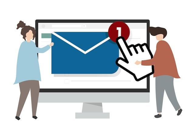 Illustration de caractères envoyant un email