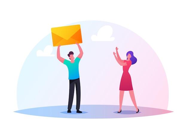 Illustration des caractères envoyant ou recevant des messages. petit homme donnant une énorme enveloppe jaune à la femme