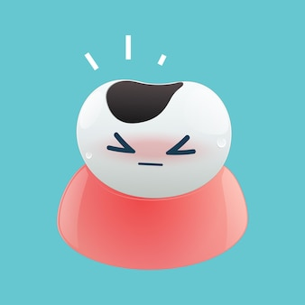 Illustration de la carie dentaire de dessin animé sur le fond bleu