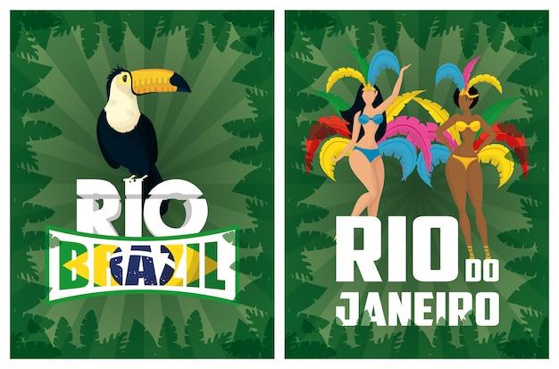 Illustration de carnaval du brésil avec de beaux garotas interraciaux et toucan