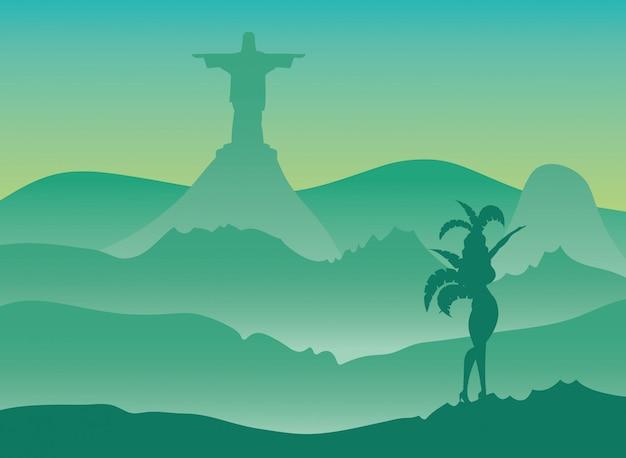 Illustration de carnaval du brésil avec corcovade christ