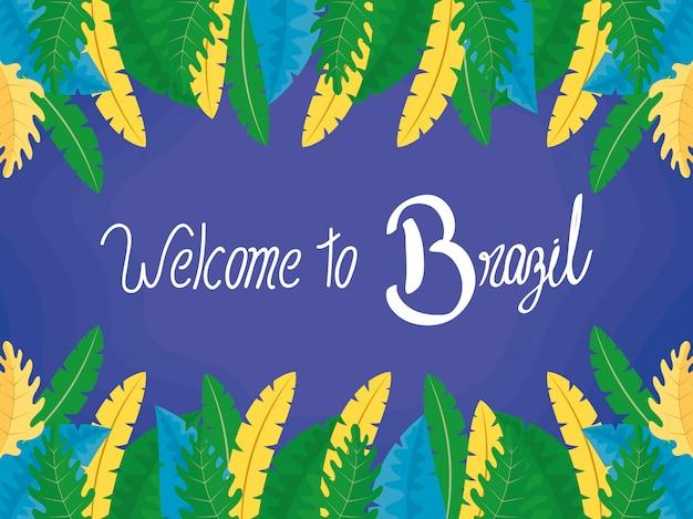 Illustration de carnaval du brésil avec lettrage et plumes
