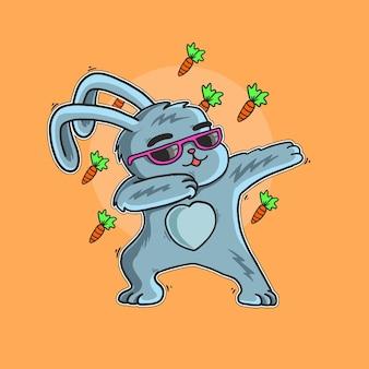 Illustration de carotte mignon lapin pâques amour